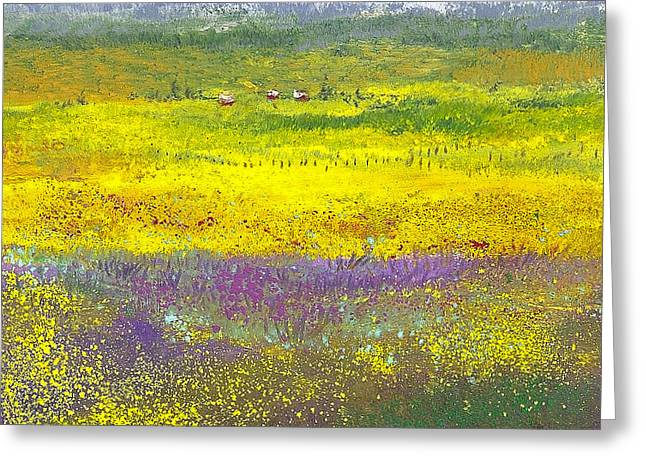 Mountain Valley Pastels Greeting Cards - Homestead in the Valley Greeting Card by David Patterson