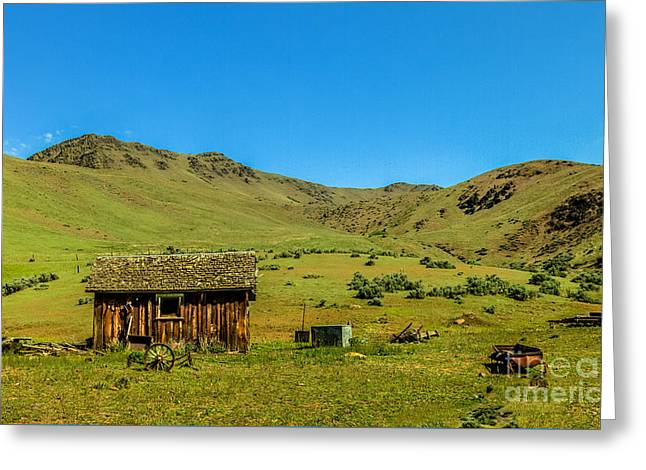 Haybales Greeting Cards - Homestead On Squaw Butte Greeting Card by Robert Bales