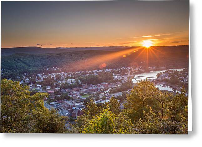 River View Greeting Cards - Hometown Sunset Greeting Card by Jeremy Noyes