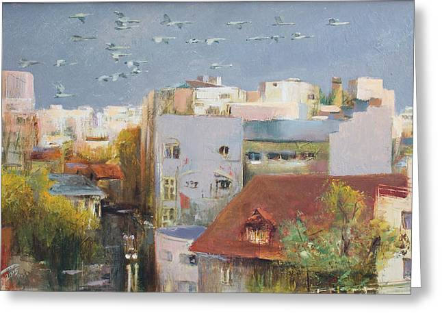 Swans... Greeting Cards - Hometown Greeting Card by Vali Irina Ciobanu