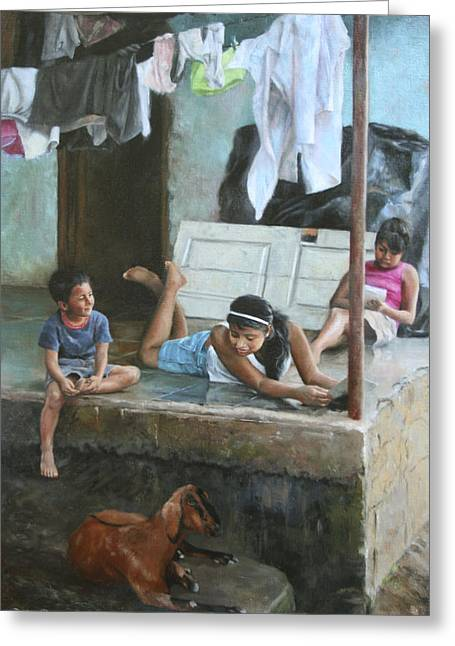 Nicaragua Greeting Cards - Homework on the Porch House of Hope Nicaragua Greeting Card by Anna Bain