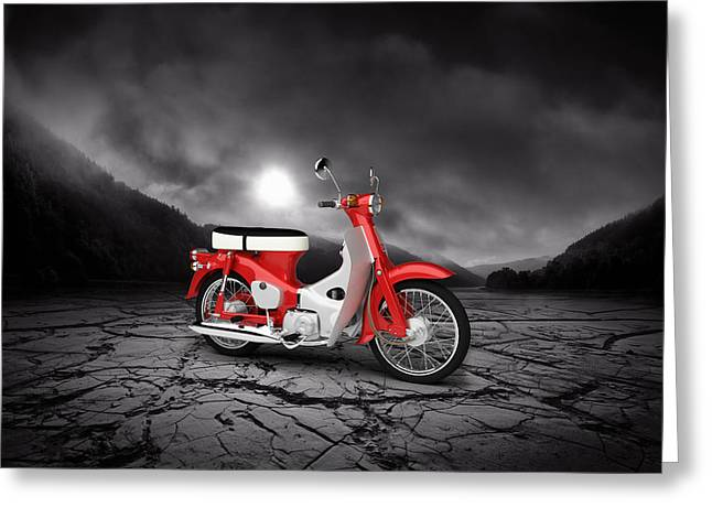 Honda Motorcycles Greeting Cards - Honda C50 Cub 1967  Mountains Greeting Card by Aged Pixel
