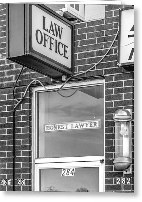 Oxymoron Greeting Cards - Honest Lawyer bw Greeting Card by Steve Harrington