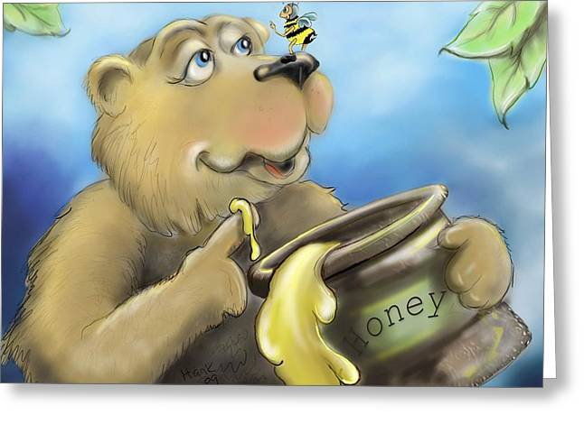 Brown Poster Greeting Cards - Honey Bear Greeting Card by Hank Nunes