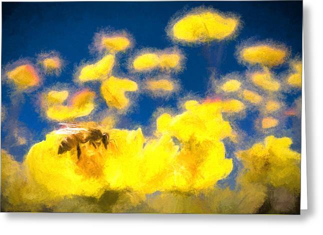 Honey Bee Mountain Daisy Impressionism Study 1 Greeting Card by Scott Campbell