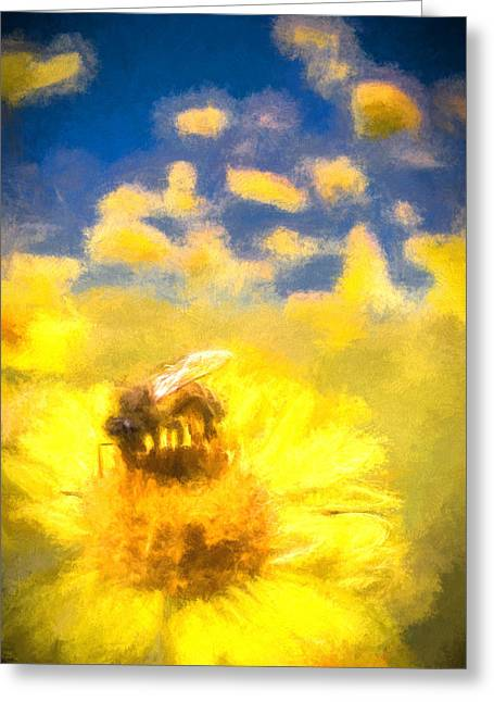 Honey Bee Mountain Daisy Impressionism Study 2 Greeting Card by Scott Campbell