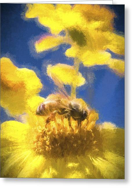 Honey Bee Mountain Daisy Impressionism Study 3 Greeting Card by Scott Campbell