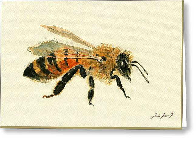 Bees Greeting Cards - Honey Bee painting Greeting Card by Juan  Bosco