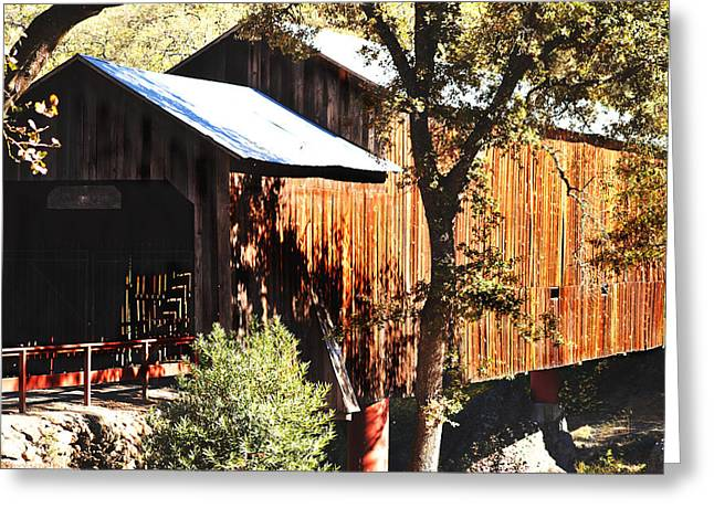 Honey Run Covered Bridge Greeting Card by Pamela Patch