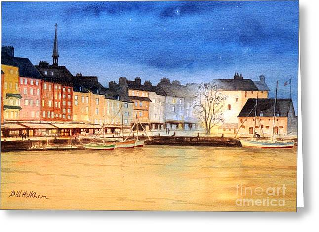 Sandwich Paintings Greeting Cards - Honfleur  Evening Lights Greeting Card by Bill Holkham