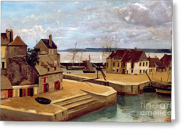 Honfleur  Houses On The Quay Greeting Card by Jean Baptiste Camille Corot