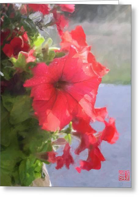 Dewdrops Digital Greeting Cards - Hong Hua Red Flowers Greeting Card by Geoffrey C Lewis