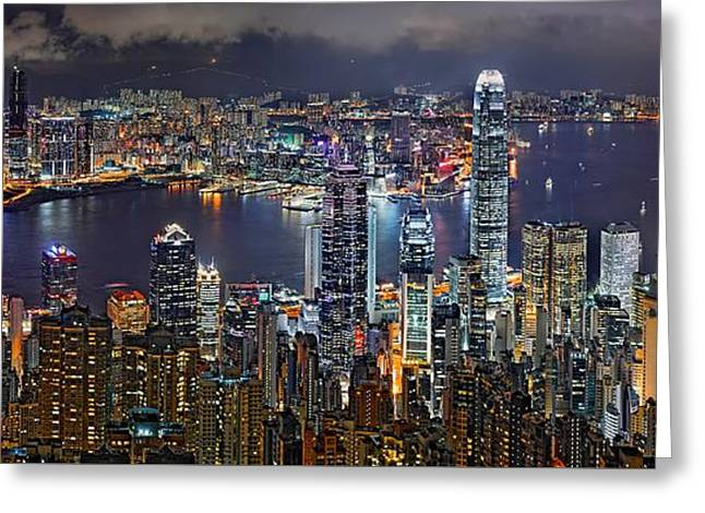 Office Space Greeting Cards - Hong Kong at Dusk Greeting Card by Jeff S PhotoArt