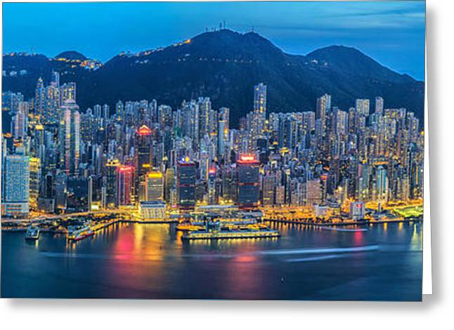 Tall Ships Greeting Cards - Hong Kong city  Greeting Card by Anek Suwannaphoom
