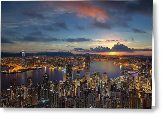 Hong Kong City Sunrise At Victoria Park Greeting Card by Anek Suwannaphoom