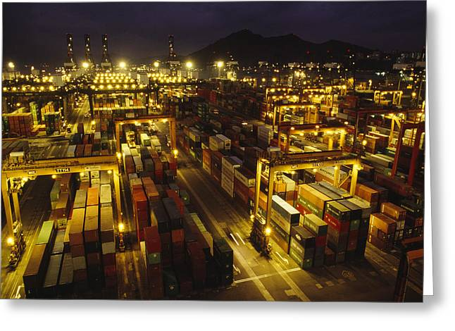 Fluorescent Lights Greeting Cards - Hong Kong Container Terminal, One Greeting Card by Justin Guariglia