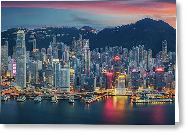 Hong Kong Island From Kowloon Greeting Card by Anek Suwannaphoom