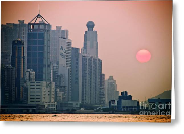 Hong Kong Island Greeting Card by Ray Laskowitz - Printscapes