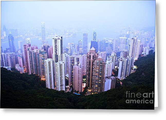 Kowloon Greeting Cards - Hong Kong Skyline Greeting Card by Ray Laskowitz - Printscapes