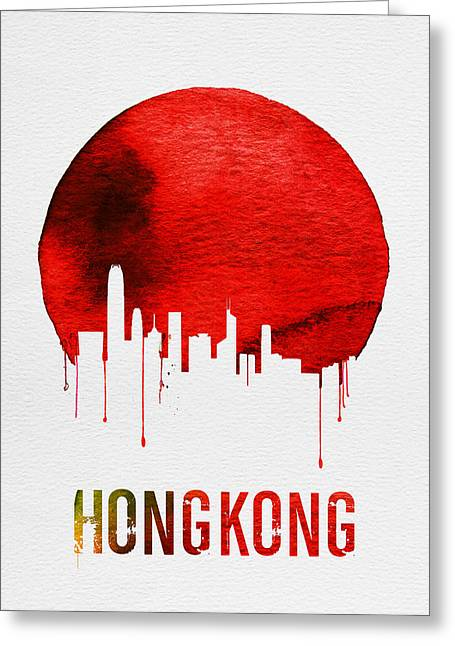 Hong Kong Skyline Red Greeting Card by Naxart Studio