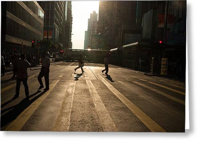 Streetview Greeting Cards - Hong Kong street view 04 Greeting Card by Kam Chuen Dung