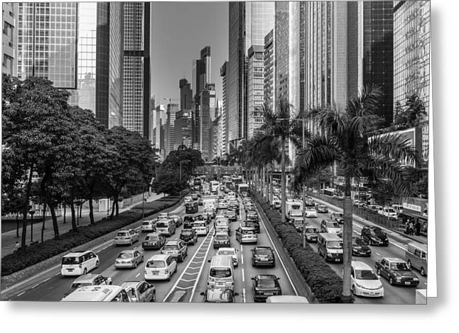 Wolkenkratzer Greeting Cards - Hongkong Traffic Greeting Card by Philipp Weindich