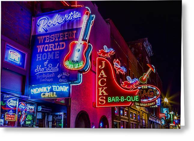 Vince Greeting Cards - Honky Tonk Broadway Greeting Card by Stephen Stookey