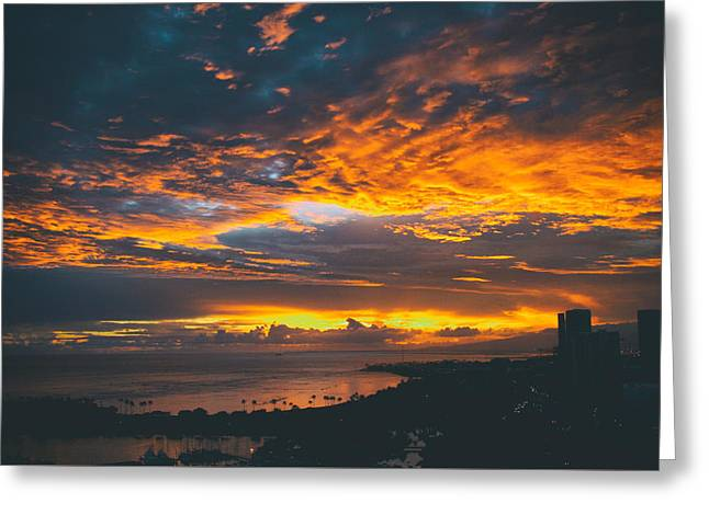 Analog Greeting Cards - Honolulu at Dusk Greeting Card by Candace Thoth