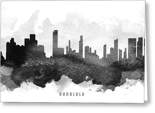 Honolulu Greeting Cards - Honolulu Cityscape 11 Greeting Card by Aged Pixel