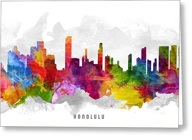 Honolulu Greeting Cards - Honolulu Hawaii Cityscape 13 Greeting Card by Aged Pixel