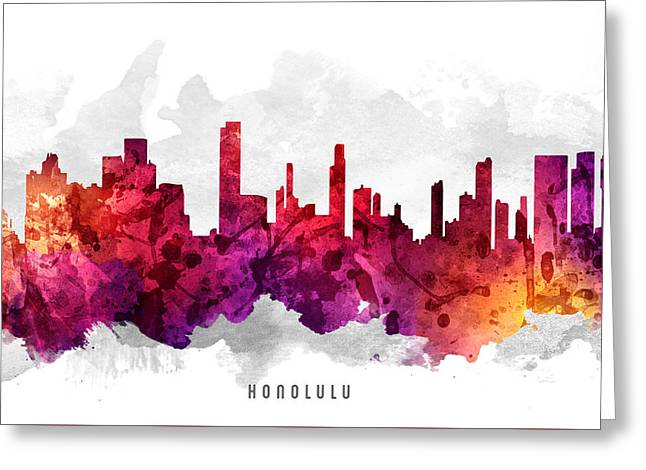 Honolulu Greeting Cards - Honolulu Hawaii Cityscape 14 Greeting Card by Aged Pixel