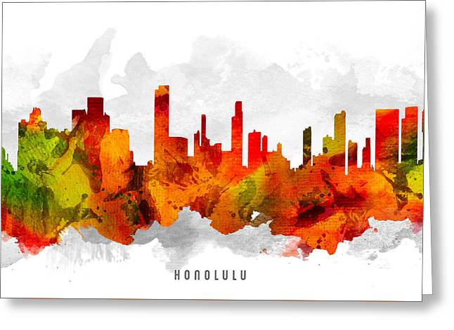 Honolulu Greeting Cards - Honolulu Hawaii Cityscape 15 Greeting Card by Aged Pixel