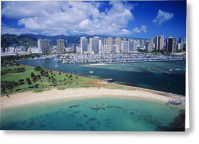 Yacht Basin Greeting Cards - Honolulu, Oahu Greeting Card by Dana Edmunds - Printscapes