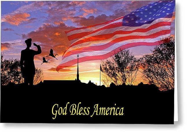 American Pride Greeting Cards - Honor and Pride Greeting Card by Adele Moscaritolo