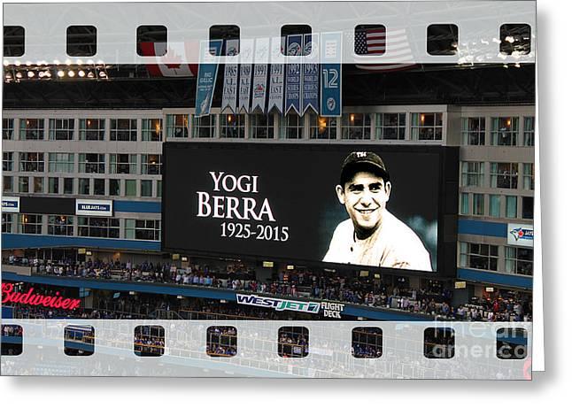Honouring A Legend - Yogi Berra Greeting Card by Nina Silver