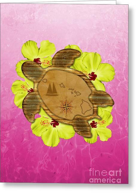 Hawaain Greeting Cards - Honu Hawaiian Map Greeting Card by Chris MacDonald