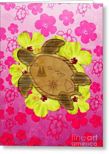 Hawaain Greeting Cards - Honu Hawaiian Nautical Map Greeting Card by Chris MacDonald