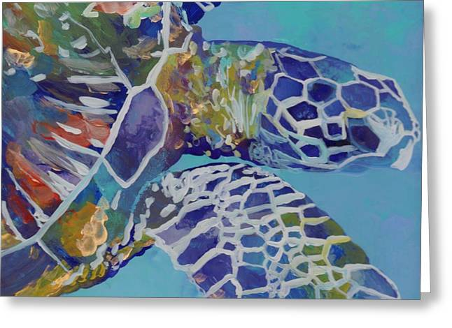 Ocean Turtle Paintings Greeting Cards - Honu Greeting Card by Marionette Taboniar