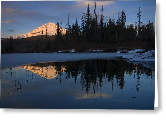 Mt Hood Greeting Cards - Hood Alpenglow Greeting Card by Mike  Dawson