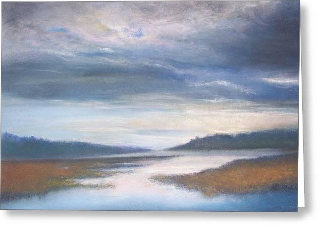 Wetlands Pastels Greeting Cards - Hood Canal - High Tide Greeting Card by Jackie Bush-Turner