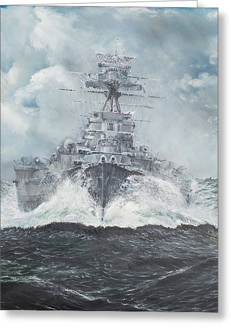 Sea Route Greeting Cards - Hood heads for Bismarck Greeting Card by Vincent Alexander Booth