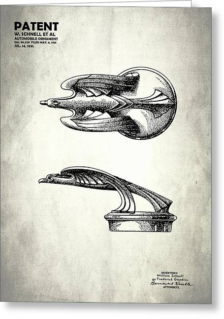 Hood Greeting Cards - Hood Ornament Patent 1931 Greeting Card by Mark Rogan