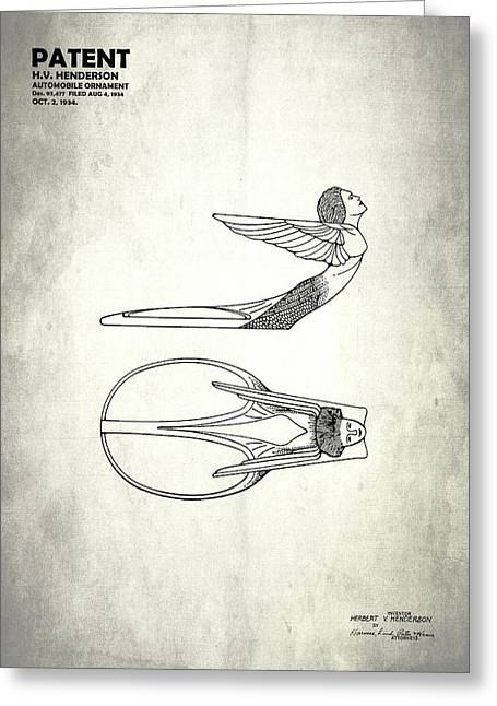 Hood Greeting Cards - Hood Ornament Patent 1934 Greeting Card by Mark Rogan