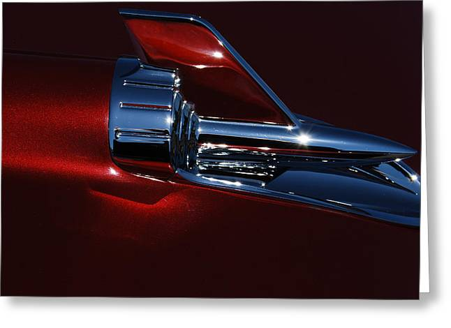 Collector Hood Ornament Greeting Cards - 1957 Chevy Belair Hood Rocket Abstract Greeting Card by Jani Freimann