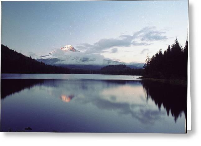 Lake Washington Pyrography Greeting Cards - Hood Trillium Lake Greeting Card by Bob Groshart