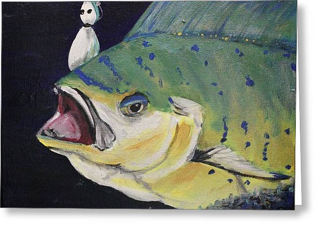 Snorkel Mixed Media Greeting Cards - Hooked II Greeting Card by Maria Boudreaux