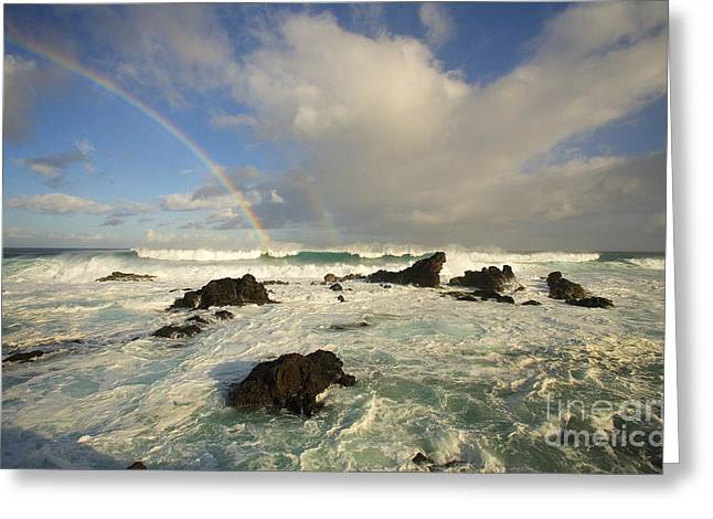 Offshore Rocks Greeting Cards - Hookipa Beach Greeting Card by Ron Dahlquist - Printscapes