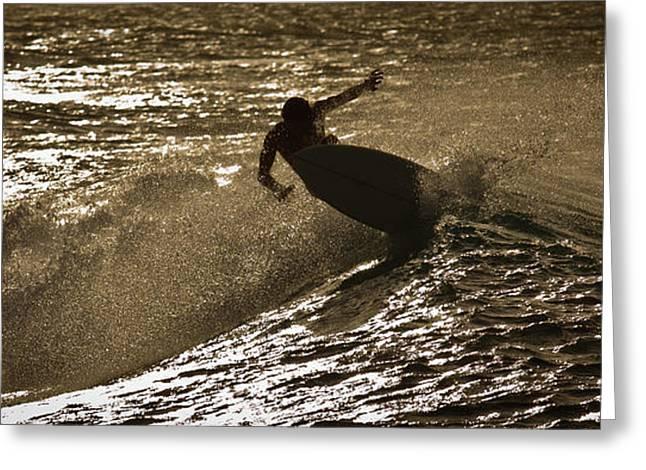 Hookipa Maui Surfer At Sunset Greeting Card by Denis Dore