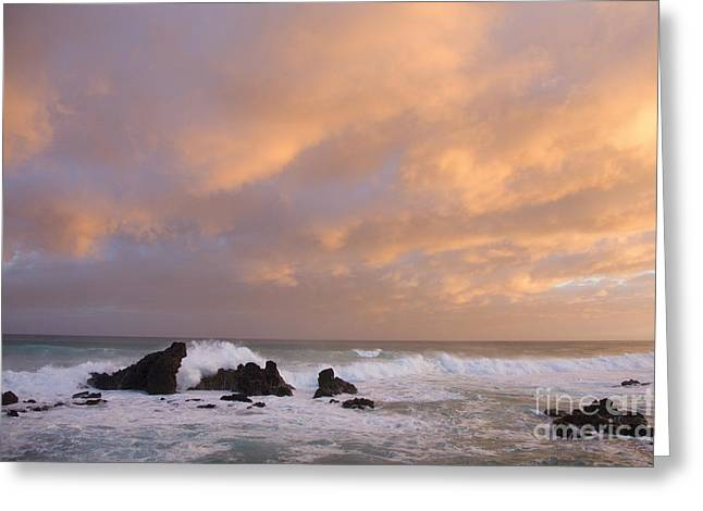 Offshore Rocks Greeting Cards - Hookipa Sunset Greeting Card by Ron Dahlquist - Printscapes