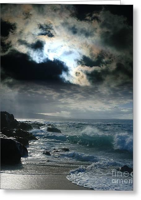 Sunset Prints Digital Greeting Cards - Hookipa Waiola  O ka lewa i luna ua paaia he lani Maui Hawaii  Greeting Card by Sharon Mau